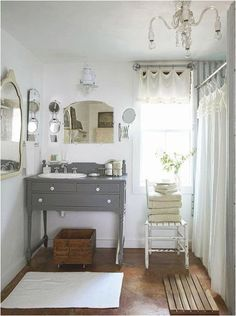 Love the old time feel with natural elements...I REALLY WANT TO MAKE MY SINK CABINET OUT OF SOMETHING I LOVE