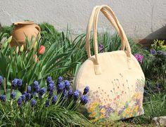 Handmade purse by Renata Vespa. floral bag, painted, flower, spring, summer, fashion, women