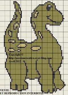Grille gratuite point de croix : Dinosaure