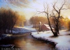 """Choose your thoughts wisely, they become things. (""""Boyhood Winter"""" by Greg Olsen) Greg Olsen Art, Mormon Temples, Nostalgic Images, Lds Art, Winter Art, Art And Architecture, Beautiful Landscapes, Minion, Cool Pictures"""