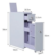 Homcom Bathroom Cabinet Floor Standing Cupboard Modular Shelves Slide Out Toiletries Storage White Amazon