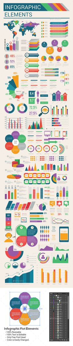 1017d621b1ad Buy Infographic flat elements by queenpen on GraphicRiver. Features  -  Fully layered - Easy edit able - CMYK mode 300 DPI - Main file-AI and EPS  ...