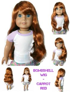 Our Bombshell girl doll wig in Carrot Red