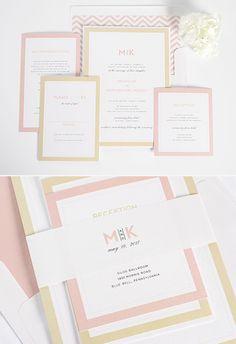Gold and blush wedding invites from Shine Wedding Invitations @weddingchicks