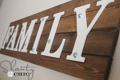 """Rustic """"Family"""" sign, DIY-able, I'd do it without the hex bolts and washers and probably make the letters look more distressed, maybe with my new last name instead. What a lovely decoration for our new home!"""