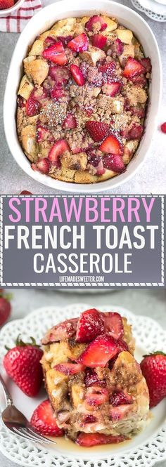 Overnight Strawberry Cream Cheese French Toast Bake Casserole Bake makes the perfect, easy and delicious breakfast, brunch or dessert. A great recipe to add to Mother's Day, Easter, Fourth of July or (Baking Treats French Toast) Breakfast For A Crowd, Breakfast Toast, Food For A Crowd, Breakfast Dishes, Breakfast Ideas, Breakfast Recipes, Breakfast Crockpot, Mothers Day Breakfast, Night Before Breakfast