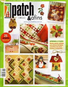 Album Archive - Patch e Afins Natal 2011 Sewing Magazines, How To Make Purses, Origami, Patch Aplique, Applique Fabric, Book Crafts, Craft Books, Book Quilt, Patch Quilt