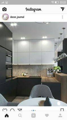 Kitchen Room Design, Modern Kitchen Design, Dining Room Design, Interior Design Kitchen, Küchen Design, House Design, Small U Shaped Kitchens, Kitchen Dining Living, Apartment Living