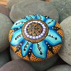 Bright and colorful flower - Hand Painted River Rock - whimsical art - gift - collectible