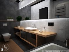ciężkie, ale fajny patent z lustrem Modern Bathroom Design, Contemporary Bathrooms, Bathroom Interior, Bathroom Designs, Interior Exterior, Home Interior Design, Industrial Kitchen Design, Ideal Bathrooms, Brick And Wood