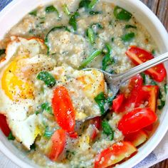 Tired of brown rice? Try oatmeal instead! We love this healthy  Savory Spinach Steel Cut Oatmeal recipe. #healthyrecipes #wholegrains #fiber | everydayhealth.com