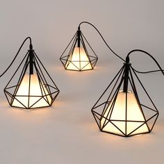 Free shipping American vintage cage pendant lights EU warehouse Black diamond Pendant lamp Diamond Creative Restaurant Lights
