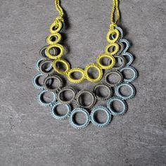 Bib necklace / Crochet necklace / Textile by AliquidTextileJewels