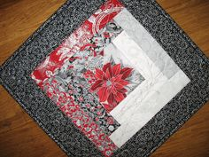 Christmas Table Topper Poinsettia handmade table topper
