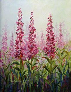 Alaska Fireweed, painting by Karen Mattson
