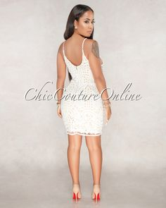 Chic Couture Online - Nassira Off White Nude Illusion Crochet Dress
