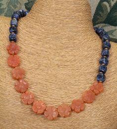 Orange Aventurine and Blue Sodalite Necklace