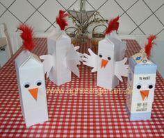 mælkekartonshøner (haner og kyllinger): med hånd og fodaftryk fra min blog: http://agnesingersen.dk/blog/hone