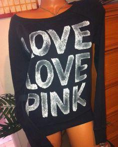 Victoria s Secret LOVE PINK CREW sweatshirt Black white Cheetah HEART  graphics S  VictoriasSecret  SweatshirtCrew c3dd2475e
