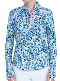 Unique, Pretty Colors are the highlight of the JoFit Ladies  golf collection just like this Sherry (Sherry Print) JoFit Ladies & Plus Size Long Sleeve UV Golf Mock Shirts!