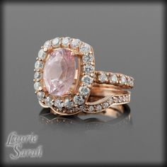 Love the ring but without the wedding band. Cotton Candy Pink Sapphire Rose Gold Engagement Ring Wedding