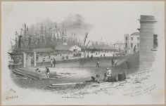 Melbourne Wharf looking So. W. from Custom House enclosure 1853