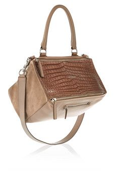 Givenchy Medium Pandora bag in taupe croc-effect leather and suede | NET-A-PORTER