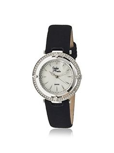 Sophie and Freda Women's SF1401 Tuscany Black/White/Silver Leather Watch