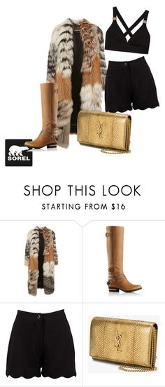 """Tame Winter with SOREL: sexy glam on winter"" by bedwinargd on Polyvore featuring SOREL, Roberto Cavalli, Boohoo, Yves Saint Laurent and sorelstyle"