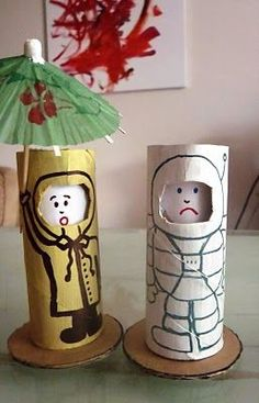 Toilet roll dolls with changing faces...
