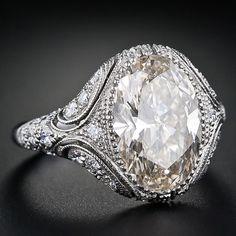 Vintage Style 4.44 Carat Oval Diamond Ring.