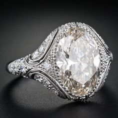 Vintage Style 4.44 Carat Oval Diamond Engagement Ring