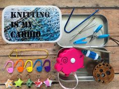 Knitting is my Cardio  Knit kit tin with by thesexyknitter on Etsy