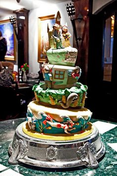 Courtship Story Wonky Wedding Cake by Sucre Coeur - Eats & Ink, via Flickr