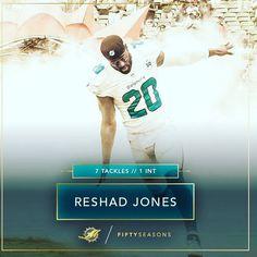 Pro Line Men's Miami Dolphins Reshad Jones Team Color Jersey - Aqua