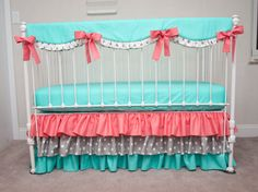 Bumperless Aqua, Coral, and Gray Baby Girl Crib Bedding with Crib Rail Guard / Rail Cover