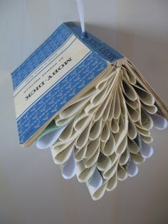 Vintage Book Mobile, Moby Dick, Book page mobile, Book sculpture, Blue, eco friendly