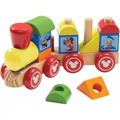 Mickey Mouse, Minnie Mouse, Goofy, Pluto, Daisy Duck, and Donald Duck are ready to get playtime rolling! Children can stack the blocks to arrange the passengers, reshape the train, and send these pals on adventures galore. This engaging toy, featuring 14 wooden pieces, will take the fun to playtime. Engineer Mickey is happiest when his friends are all aboard!