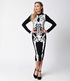 Iron Fist Black & White Wishbone Long Sleeve Cotton Wiggle Dress