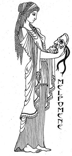 "Melpomene -  the ""Songstress"" is the muse of Tragedy in spite of her Joyous Singing and is represented by the tragic mask. She is sometimes seen with garland, a club and a sword. She is often seen wearing cothurnes, boots traditionally worn by tragic actors, and a crown of cypress.  Art by Katlyn"