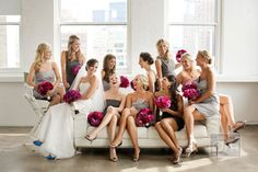 Couch bridal party shot, various grey bridesmaid dresses with bright pink flowers Grey Bridesmaids, Grey Bridesmaid Dresses, Grey Dresses, Casual Bridesmaid, Bridesmaid Bouquets, Bridesmaid Ideas, Long Dresses, Wedding Pics, Wedding Bells