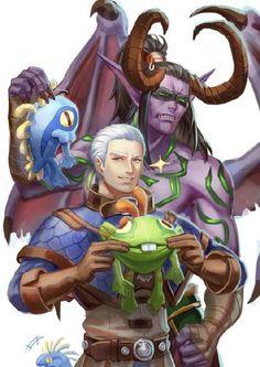 Illidan and Khadgar with murlocs. Lol