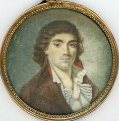 Portrait de Camille Desmoulins vers 1794, miniature anonyme, avec mèche de cheveux formant les initiales CD (collection particulière, ne pas reproduire sans solliciter un accord par notre intermédiaire).