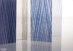 The Windy City company collaborates with design juggernaut Gensler on Linework, a collection of striated safety glass. Partition Screen, Skyline Design, Safety Glass, Taps, Installation Art, Strands, Interior Design, Create, Pattern