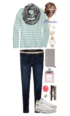 """""""Muted"""" by fashionableswimmer ❤ liked on Polyvore featuring American Eagle Outfitters, J.Crew, Old Navy, Tory Burch, Kate Spade, ASOS, Christian Dior, Eos, Bobbi Brown Cosmetics and BEA"""