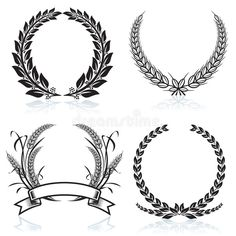 Illustration about Laurel Wreaths pattern design, vector illustration file. Illustration of icon, number, ornaments - 5106853 Tattoo Couronne, Wheat Tattoo, Laurel Wreath Tattoo, Olive Wreath, Illustration, Future Tattoos, Vector Art, Design Elements, Tattoo Designs