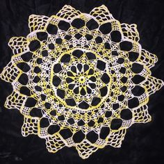 """Vintage Crocheted Doily Variegated Yellow Cream 12 Pt Star Fall Decor 16"""""""