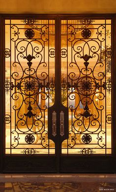 French Chateau style iron and glass entry doors Upholstered Walls, French Interior Design, La Forge, Wrought Iron Gates, Iron Work, French Chateau, Interior Barn Doors, Exterior Doors, Entrance Doors