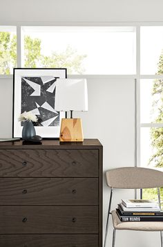 Modern Manning Three-Drawer Dresser in Charcoal Stain Ash Wood Three Drawer Dresser, Dresser As Nightstand, Dressers, New Furniture, Living Room Furniture, Table Lamp Wood, Table Lamps, Modern Dining Chairs, Side Chairs