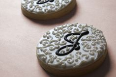 Hand Decorated Wedding or Bridal Shower Favor Sample Cookies // Monogrammed with Elegant Swirls | Flickr - Photo Sharing!